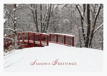 Red Bridge Winter Scene Holiday Cards